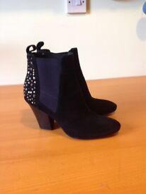 Ladies black suede boots