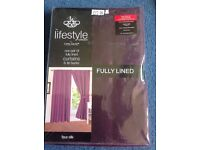 Aubergine colour lined curtains