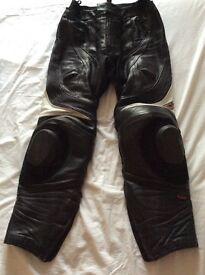 Men's Hein Gericke leather trousers black with white size 32