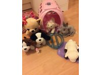 Toys. Collection of animals with batteries, FurReal rabbit, kitten, Animagic puppies etc