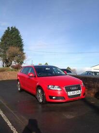 Audi A3 sportback 5door Panoramic roof with heated seats 17inch sport alloy wheels.