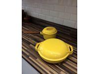 Vintage Waterford wrought iron saucepan & casserole dish yellow