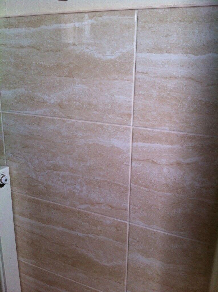 Ceramic Creambeige Wall Tiles And Matching Floor Tiles In
