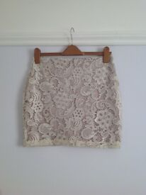 Lipsy Silver Lace Skirt, Small Size 10