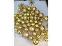 Christmas tree decs in gold .