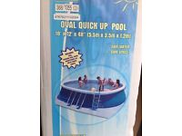 5.5m Oval Quick Up Bestway Pool with sand filter, Elecro 9KW Heater incl. Solar & Thermal Covers