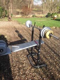 Weights bench York Fitness with some weights included
