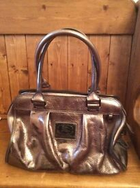 Authentic Burberry metallic leather tote bag