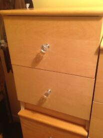 Ikea Light Wood Two Drawer Unit with 'Crystal' Knobs