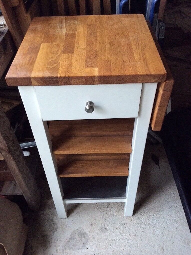 Oak top white kitchen butchers block trolley or side table in Hedge End, Hampshire Gumtree