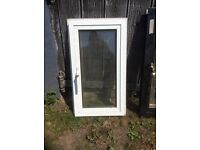 TWO SMALL SIZED DOUBLE GLAZED WINDOWS 1 WHITE / 1 BLACK/ WITH LOCKING HANDLES & KEY