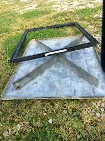 Galvanised manhole cover and frame