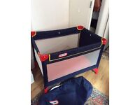 HARDLY USED LITTLE TIKES TRAVEL COT/PLAY PEN. GREAT FOR CAMPING. CLEAN. GOOD CONDITION