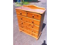 Beautiful solid pine two over four chest of drawers