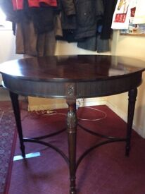 A beautiful antique mahogany drummer/round table, circa 100 years old.