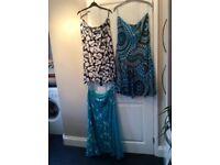 3 Per Una/M&S Flowy Blue/Mint Skirts Size 16