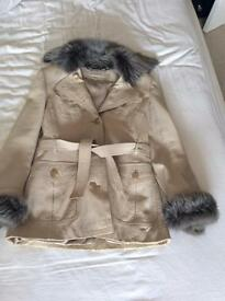 Karen Millen Cream Leather Jacket (Size 10)