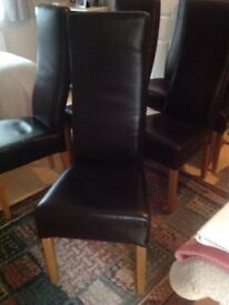 Dark brown leather dining chairs x 6 Good condition and comfortable high back dining chairs