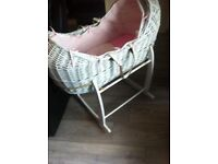White and pink wicker Moses basket and stand