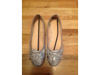 Lilley Silver/ Grey Snakeskin Ballerina Shoes