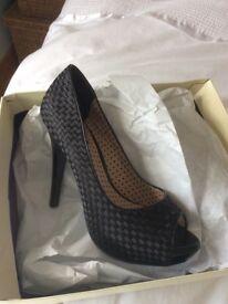 Next Black Satin Court Shoes