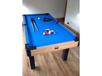 Pool Table including balls, triangle and 2 short cues