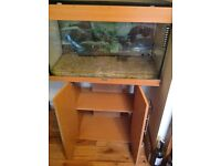 Large Fish tank with pump with storage underneath. Nice looking !