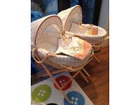 Mamas papas unisex Moses basket with quilt, stand and John Lewis fitted sheet