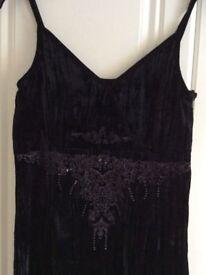 Black Evening Dress by Fransa, size M, 18% SILK 82% VISCOSE, Bodice bead & embroidery design