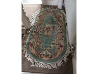 Green patterned Wool rug for sale