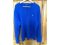 A Thick Round Necked Blue Ralph Lauren Polo Jumper - Large
