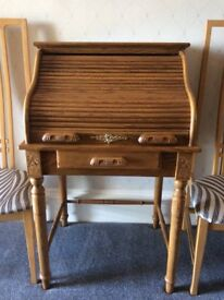 Oak roll top writing desk