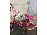 Girls pink bike age suitable 5-7 hardly used bought for grans home