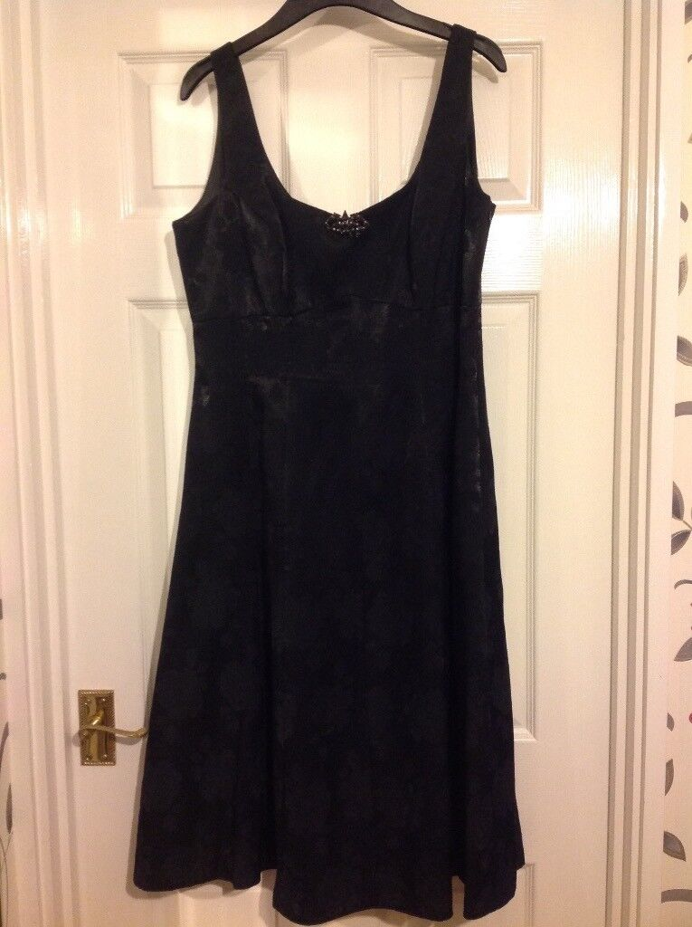 Debut Black Cocktail Dress size 14 fully lined length 43 inches excellent condition