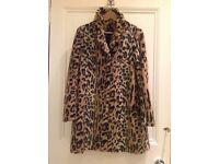 Top Shop faux fur leopard print coat
