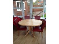 Oak Dining Table With Four (Red) Chairs