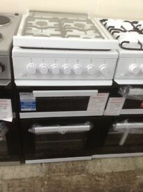 Beko 50cm gas cooker with glass lid. White. New/graded 12 month Gtee