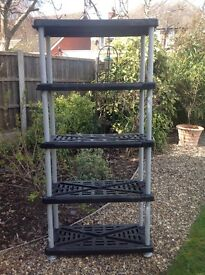 Plastic 5 tier Shelving Unit, great storage for garage or shed