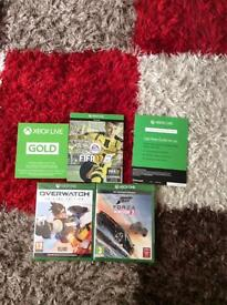 Xbox one games and two 14 day trials of Xbox one live