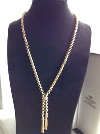 9ct 375 SOLID GOLD LADIES HEAVY 24.7 GRAMS BELCHER CHAIN WITH TASSLES AND ORIGINAL JEWELLERS BOX
