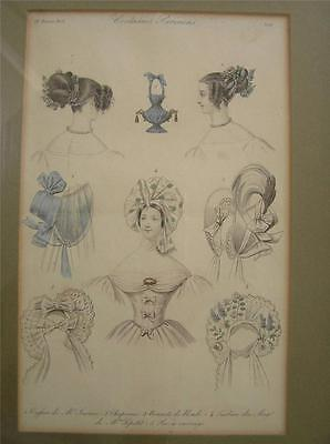 1835 Paris Fashion Women's Hair and Hat Bonnets Couffure lithograph framed