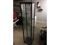 Black metal and glass display unit