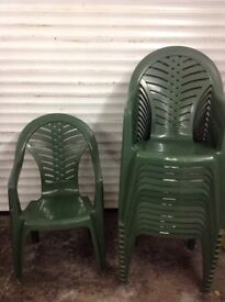 Green plastic chairs. Not used outside 14 of them.