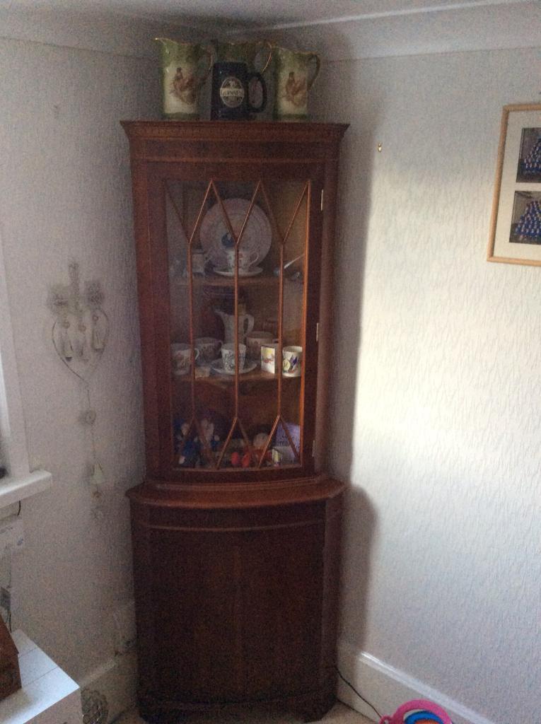 F R E Good Quality Dark Wood Corner Cabinet In Paignton Devon Gumtree