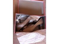 Size 8 Taupe Satin Peep Toe Shoes & Size 7 Heels