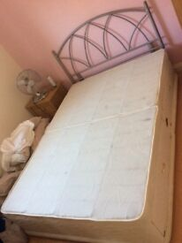 Silent night double bed, mattress and metal head frame