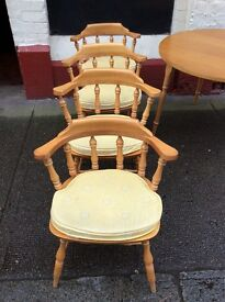 Captain style Pine Chairs + Beech Table : Free Glasgow delivery