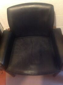 Used black leather/hard wood office chair. Good condition
