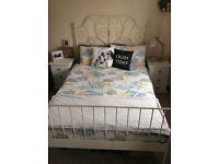 ikea leirvik double bed frame shabby chic vintage cream metal