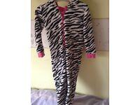 Girls Zebra onesie, size 5-6, good condition